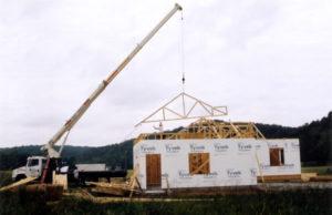 Crane Setting a Truss