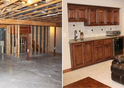 Basement finish, lower level renovation, home renovation, home remodeling, door county, home additions, basement bar, custom built bar, basement ideas, lower level living space, family room, basement finishing, fireplace, door county, fox valley