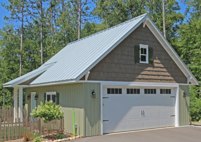 Detached 2 stall garage built by PortSide Builders in Door County.