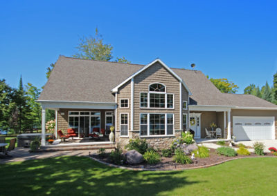 New custom-designed waterfront home in Townsend, Wisconsin.