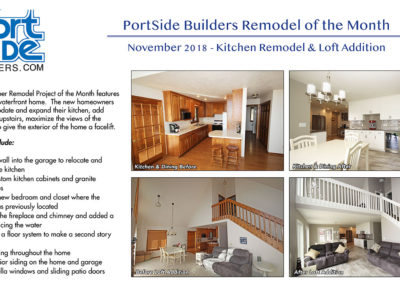 Kitchen remodel and loft addition in a condo in Door County, WI by PortSide Builders.