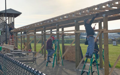 PortSide Employees Volunteer to help Greenville Civic Club Build an Archery Roof for the Lions Park Archery Range