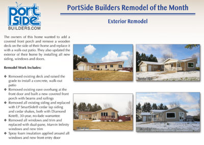 Oshkosh exterior home update by PortSide Builders, Inc.