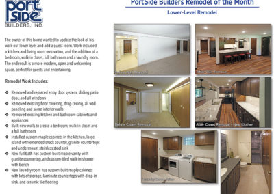 Basement Remodel featuring bedroom and bathroom addition, kitchen and laundry room.