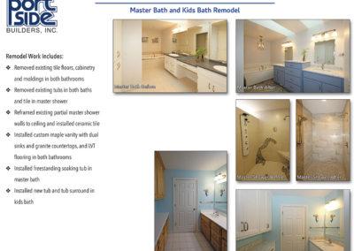 Remodel of Master Bath with free standing tub and herringbone wood flooring.