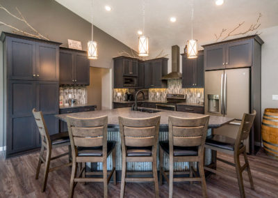 Dark wood kitchen cabinetry