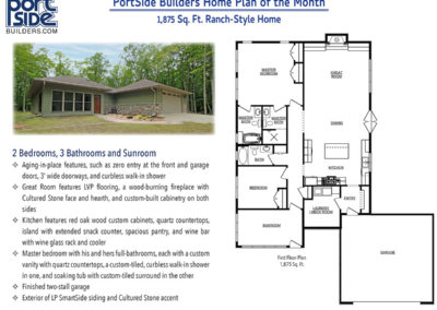 Home floor plan for a 1,875 Sq. Ft. Ranch Style Home with 2 Bedrooms, 2 Bath & Sunroom