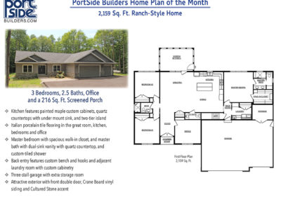 Home plan of 2,159 Sq. Ft. ranch style home, 3 bedrooms, 2.5 baths, office & screen porch. Custom built in Door County.