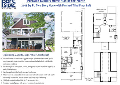 2,900 Sq. Ft. 2 story home with 3rd floor loft, 3 bedroom, 2.5 bath. Lake front property. Custom built in the Fox Valley.